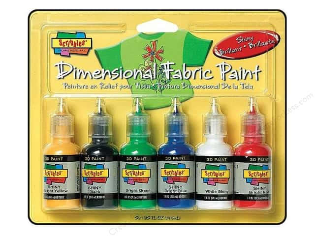 Scribbles Dimensional Fabric Paint Set 6 pc. Shiny