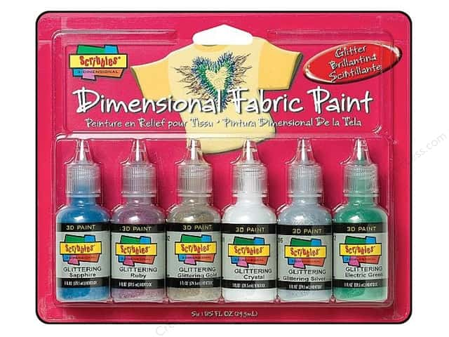 Scribbles Dimensional Fabric Paint Set Glitter 6 pc