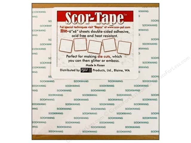 Scor-Pal Scor-Tape Double Sided Adhesive 6 x 6 in. 5 pc.