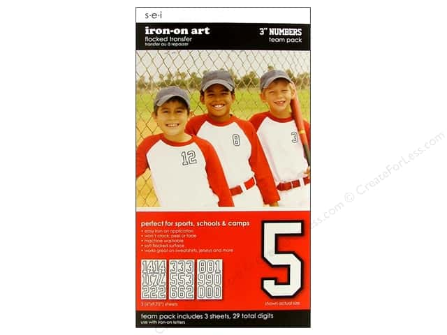 "SEI Iron On Art Transfer Numbers Team Pack 3"" White"