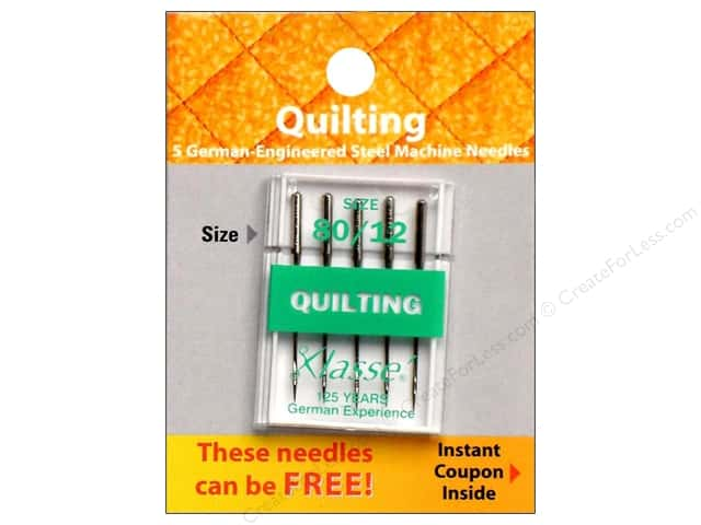 Klasse Quilting Machine Needle Size 80/12 5 pc.