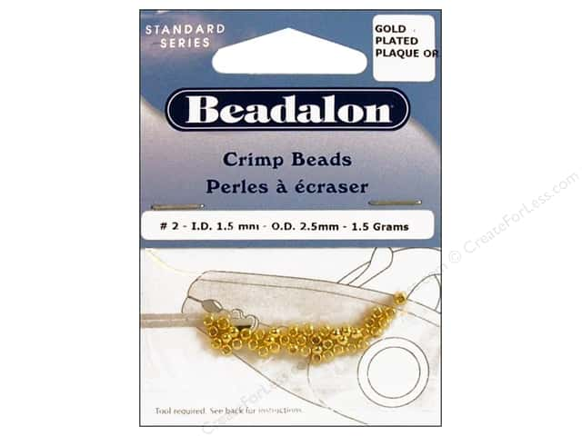 Beadalon Crimp Beads 2.5 mm Gold .05 oz.