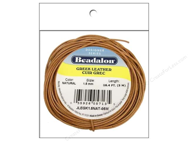 Beadalon Greek Leather Cord 1.5 mm Natural 16.4 ft.