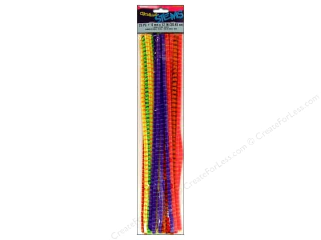 Chenille Stems by Darice 6 mm x 12 in. Assorted Stripe 25 pc. (3 packages)