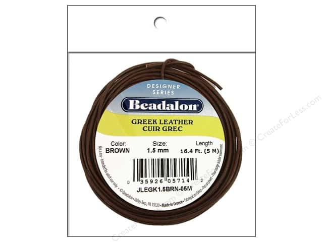 Beadalon Greek Leather Cord 1.5 mm Brown 16.4 ft.