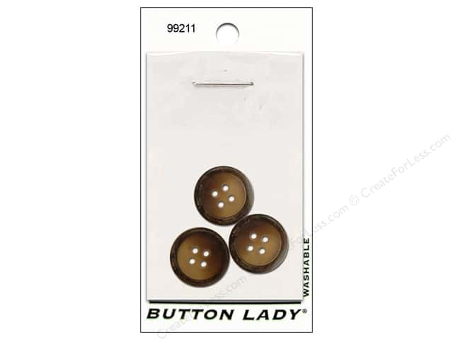 JHB Button Lady Buttons 5/8 in. Brown #99211 3 pc.