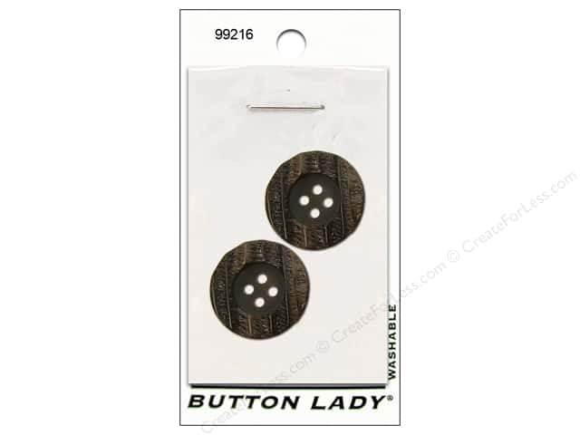 JHB Button Lady Buttons 3/4 in. Dark Brown #99216 2 pc.