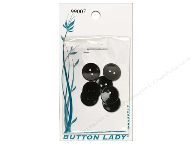 JHB Button Lady Buttons 5/8 in. Black #99007 7 pc.
