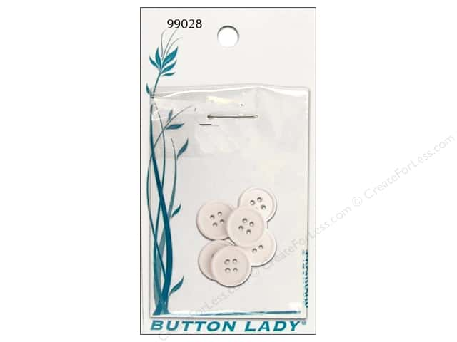 JHB Button Lady Buttons 5/8 in. White #99028 6 pc.