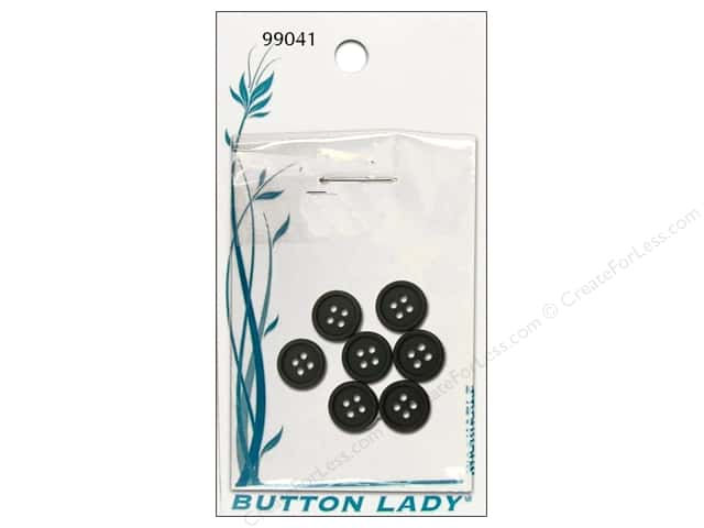 JHB Button Lady Buttons 1/2 in. Black #99041 7 pc.