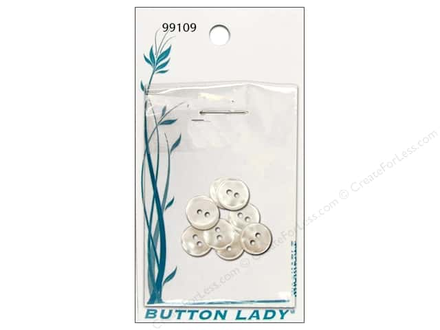 JHB Button Lady Buttons 1/2 in. White Pearlescent #99109 9 pc.