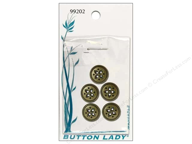 JHB Button Lady Buttons 5/8 in. Antique Brass #99202 5 pc.