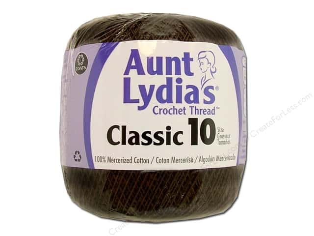 Aunt Lydia's Classic Cotton Crochet Thread Size 10 350 yd. Fudge Brown
