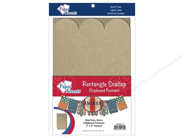 Paper Accents Chipboard Pennants 5 x 8 in. Scallop Rectangle 9 pc. Kraft