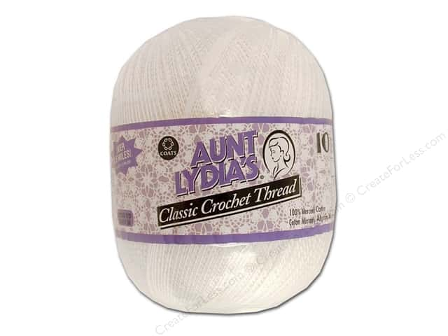 Aunt Lydia's Classic Cotton Crochet Thread Size 10 White Jumbo 2730 yd.