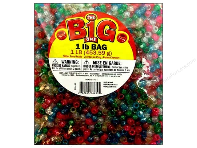 Darice Pony Beads 6 x 9 mm 1 lb. Multi Glitter