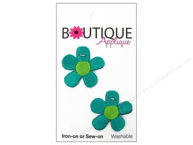 Blumenthal Boutique Applique 1 in. Turquoise Flowers 2 pc.