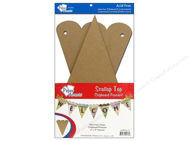Paper Accents Chipboard Pennants 6 x 9 in. Scalloped Top 9 pc. Kraft