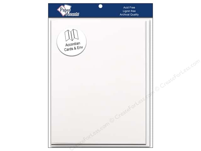 Paper Accents 4 1/4 x 5 1/2 in. Blank Card & Envelopes Accordion 5 pc. White