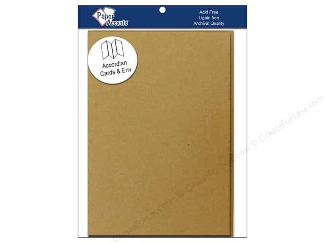 5 x 7 in. Blank Card & Envelopes by Paper Accents 5 pc. Accordion Brown Bag