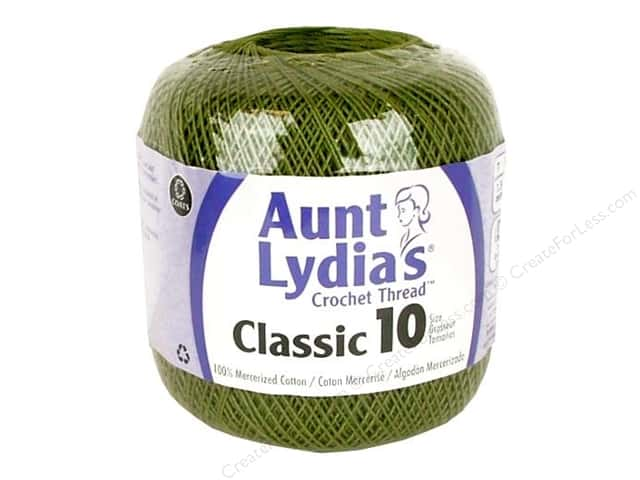 Aunt Lydia's Classic Cotton Crochet Thread Size 10 350 yd. Olive