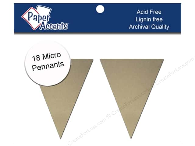 Paper Accents Chipboard Pennants 1 1/4 x 2 in. Micro 18 pc. Kraft