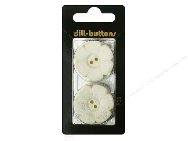 Dill 2 Hole Buttons 1 1/8 in. Ivory Flower 2pc.