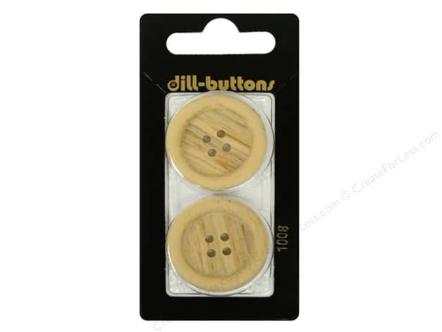 Dill 4 Hole Buttons 1 1/8 in. Wood Beige #1008 2pc