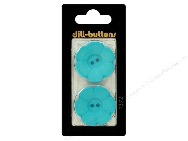 Dill 2 Hole Buttons 1 1/8 in. Blue Flower #1371 2 pc.