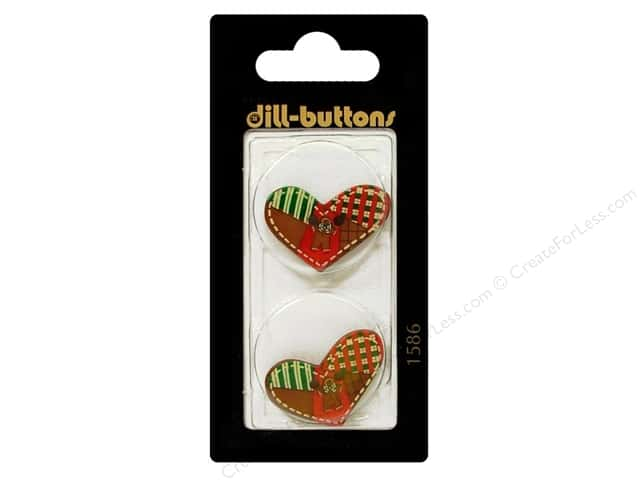 Dill 2 Hole Buttons 1 in. Heart Multi w/Brown #1586 2pc.