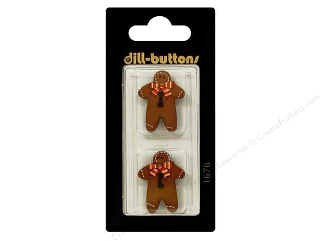 Dill 2 Hole Buttons 1 in. Brown Gingerbread Man #1676 2pc.