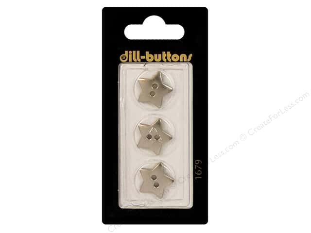 Dill 2 Hole Buttons 5/8 in. Silver Star #1679 3pc.