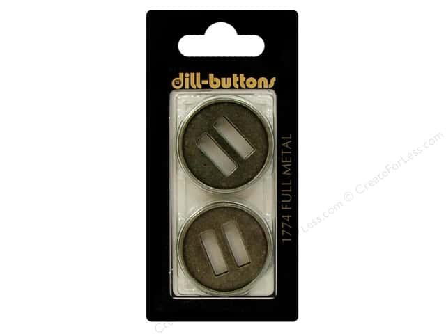 Dill Buttons 1 1/8 in. Antique Tin Ribbon Slot Hole #1774 2pc.