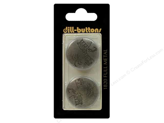 Dill Shank Buttons 1 in. Antique Tin Metal #1820 2pc.