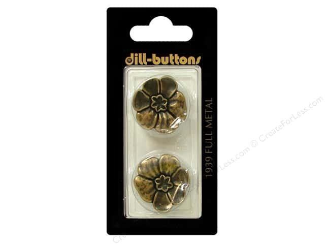 Dill Shank Buttons 7/8 in. Antique Brass Metal Flower #1939 2pc.