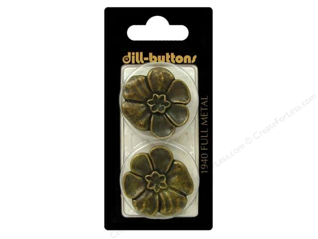Dill Shank Buttons 1 1/8 in. Antique Brass Metal Flower #1940 2pc