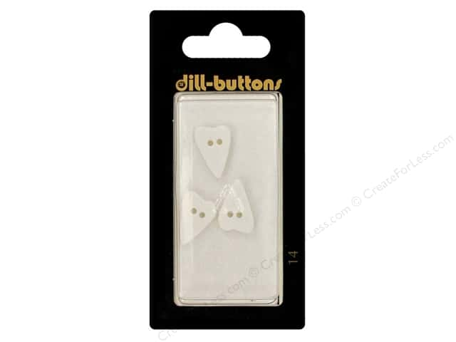 Dill 2 Hole Buttons 5/8 in. White Folk Heart #14 3pc.