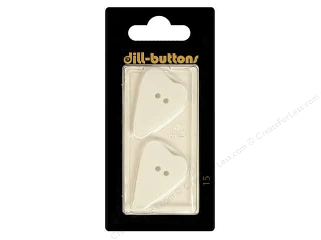 Dill 2 Hole Buttons 1 1/8 in. Folk Heart White #15 2pc.