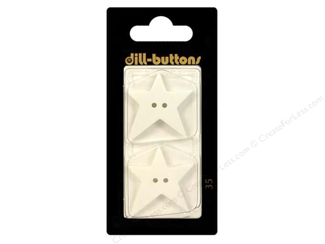 Dill 2 Hole Buttons 1 1/8 in. White Folk Star #35 2pc.
