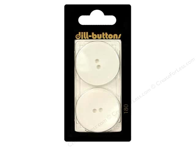 Dill 2 Hole Buttons 1 1/8 in. White #180 2pc.
