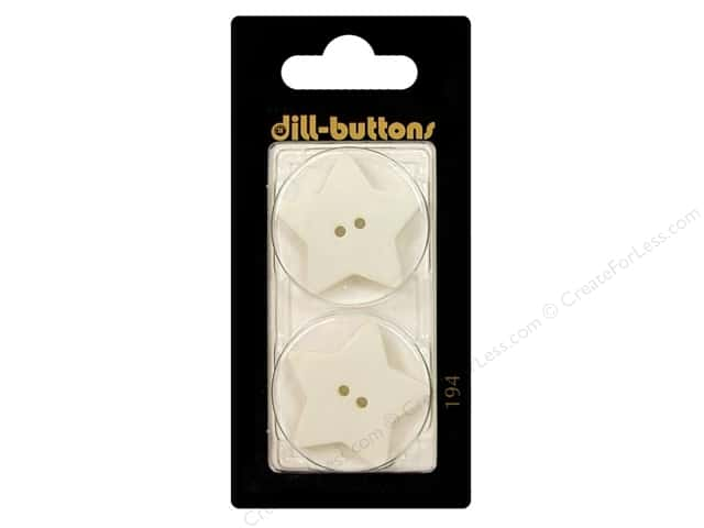 Dill 2 Hole Buttons 1 1/8 in. White Star #194 2pc.