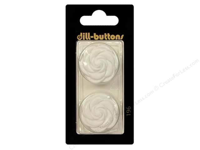 Dill Shank Buttons 1 in. White Flower #196 2pc.