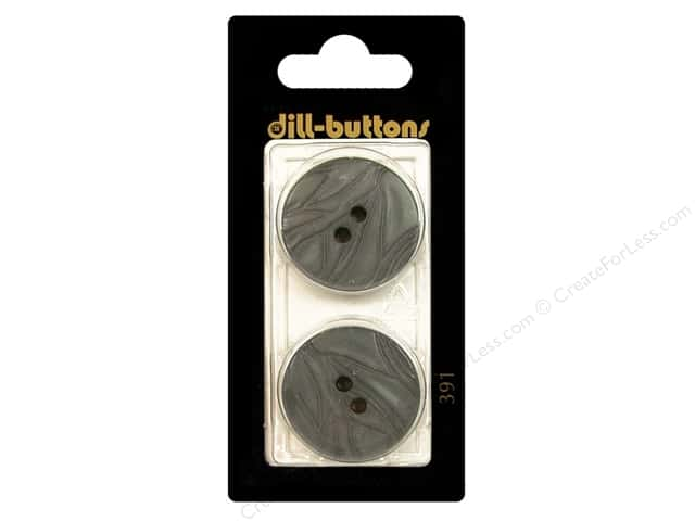 Dill 2 Hole Buttons 1 in. Grey #391 2 pc.