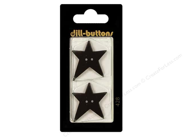 Dill 2 Hole Buttons 1 1/8 in. Black Folk Star #428 2pc.