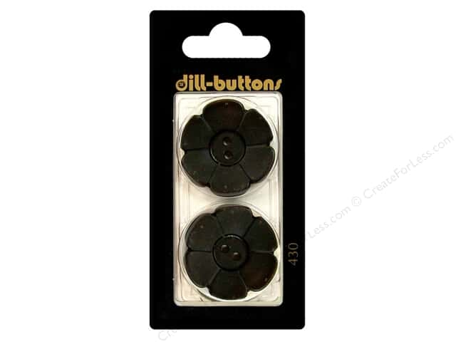 Dill 2 Hole Buttons 1 1/8 in. Black Flower #430 2pc.