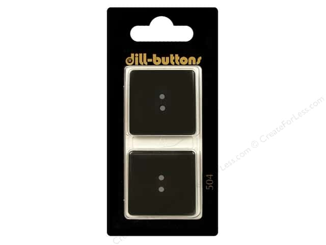 Dill 2 Hole Buttons 1 in. Black Square #504 2pc.