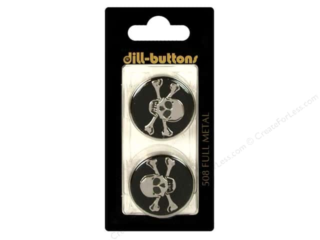 Dill Shank Buttons 1 in. Metal Enamel Black #508 2pc.