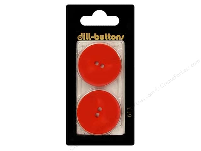 Dill 2 Hole Buttons 1 1/8 in. Red #613 2pc.