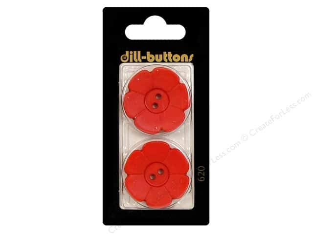 Dill 2 Hole Buttons 1 1/8 in. Red Flower #620 2pc.