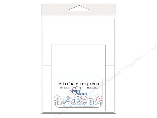 3 1/2 x 5 in. Lettra Letterpress Card & Envelopes by Paper Accents 10 pc. White